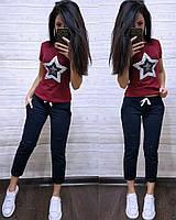Костюм стильный с футболкой, бордо+синий, фото 1