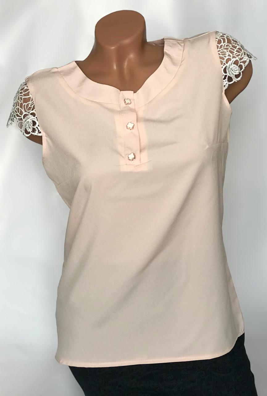Блуза с ажурным рукавом Бл-444  пудра