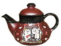 """Заварочный чайник керамический """"Ежики на качеле"""" 1л"""