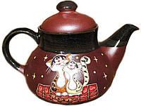 """Заварочный чайник керамический """"Коты на крыше"""" 1л"""