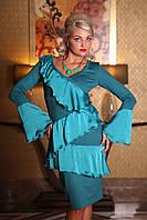 Платье молодежное, платье праздничное, платье бирюзовое, платье с рюшами , фото 1