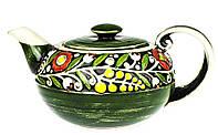 """Заварочный чайник керамический """"Украинский Стиль""""  зеленый 900 мл, заварник для чая из керамики с орнаментом"""