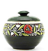 """Горшок керамический  """"Украинский стиль"""" зеленый 600 мл"""