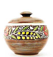 """Горшок керамический  """"Украинский стиль"""" коричневый 600 мл"""