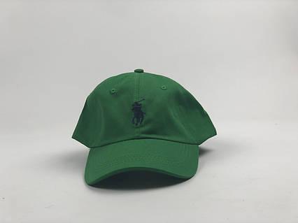 Кепка бейсболка Polo Ralph Lauren зеленая, темно-синий лого, фото 2