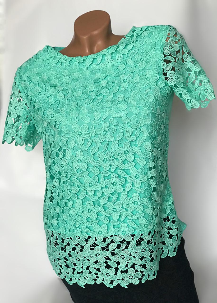 Кружевная блуза цвета мята Бл-438