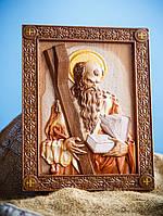 """Икона деревянная """"апостол Андрей Первозванный"""" 20 х 22 см"""