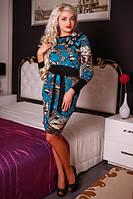Платье женское цветное бирюзовое трикотажное под пояс, фото 1