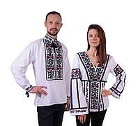 Пара вишиванок білого кольору з квітковим кольоровим орнаментом з машинною вишивкою , фото 1