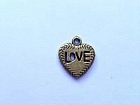 "Бронзовое сердце с надписью ""Love"", K02346"