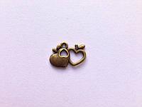Сдвоенные яблоки-сердца из бронзы, K02735