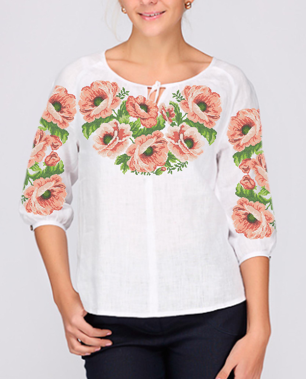 Заготовка вышиванки женской сорочки / блузы для вышивки бисером «Рожеві Маки»