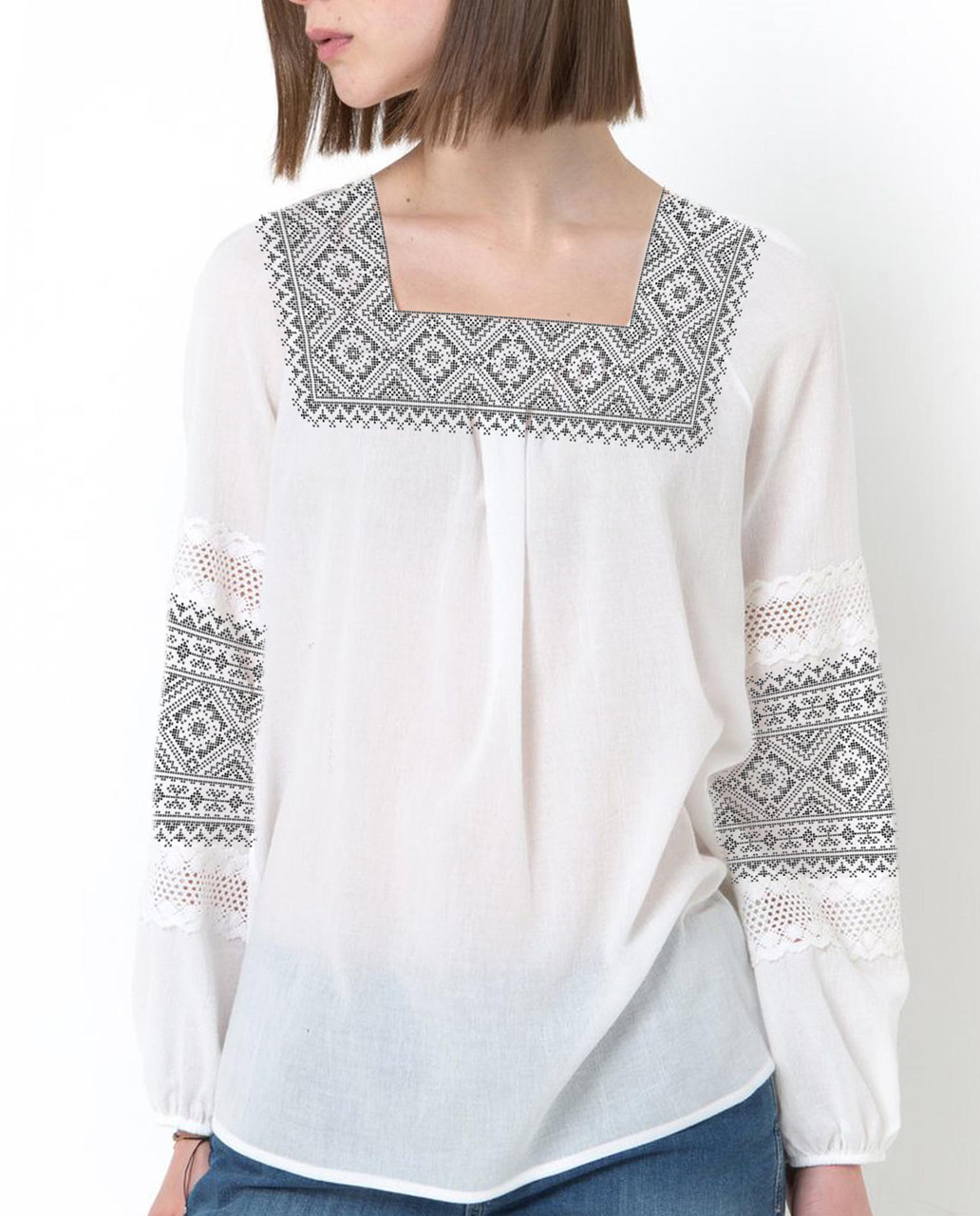 Заготовка вышиванки женской сорочки / блузы для вышивки бисером «Сірий орнамент 72»