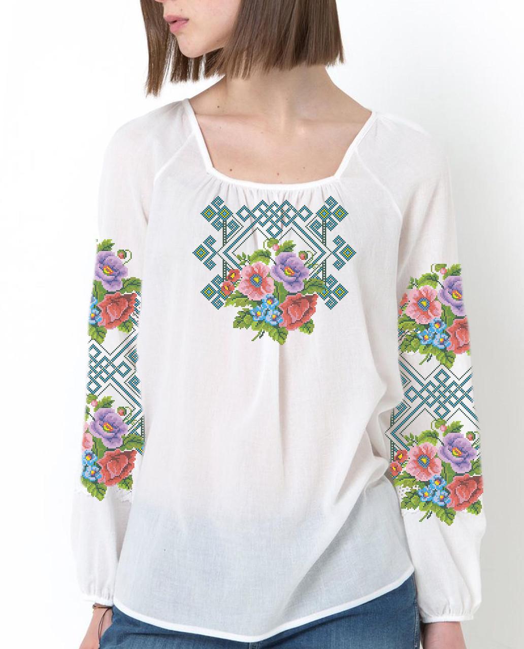 Заготовка вышиванки женской сорочки / блузы для вышивки бисером «Польові Квіти»