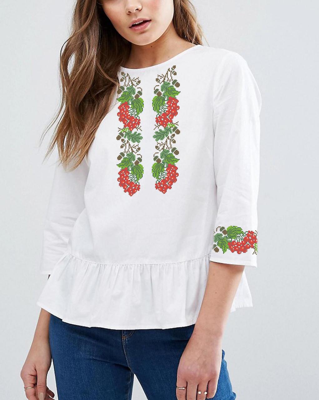 Заготовка вышиванки женской сорочки / блузы для вышивки бисером  «Калинова доля»
