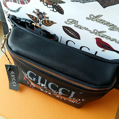 Сумка на пояс Gucci черная Люксовая, фото 3
