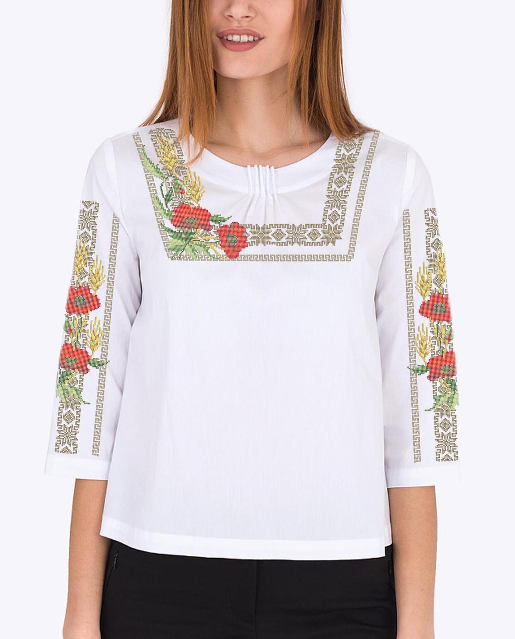 Заготовка вышиванки женской сорочки / блузы для вышивки бисером «Маки орнамент 135»