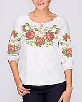 Заготовка вышиванки женской сорочки / блузы для вышивки бисером «Троянди і лілії 123»