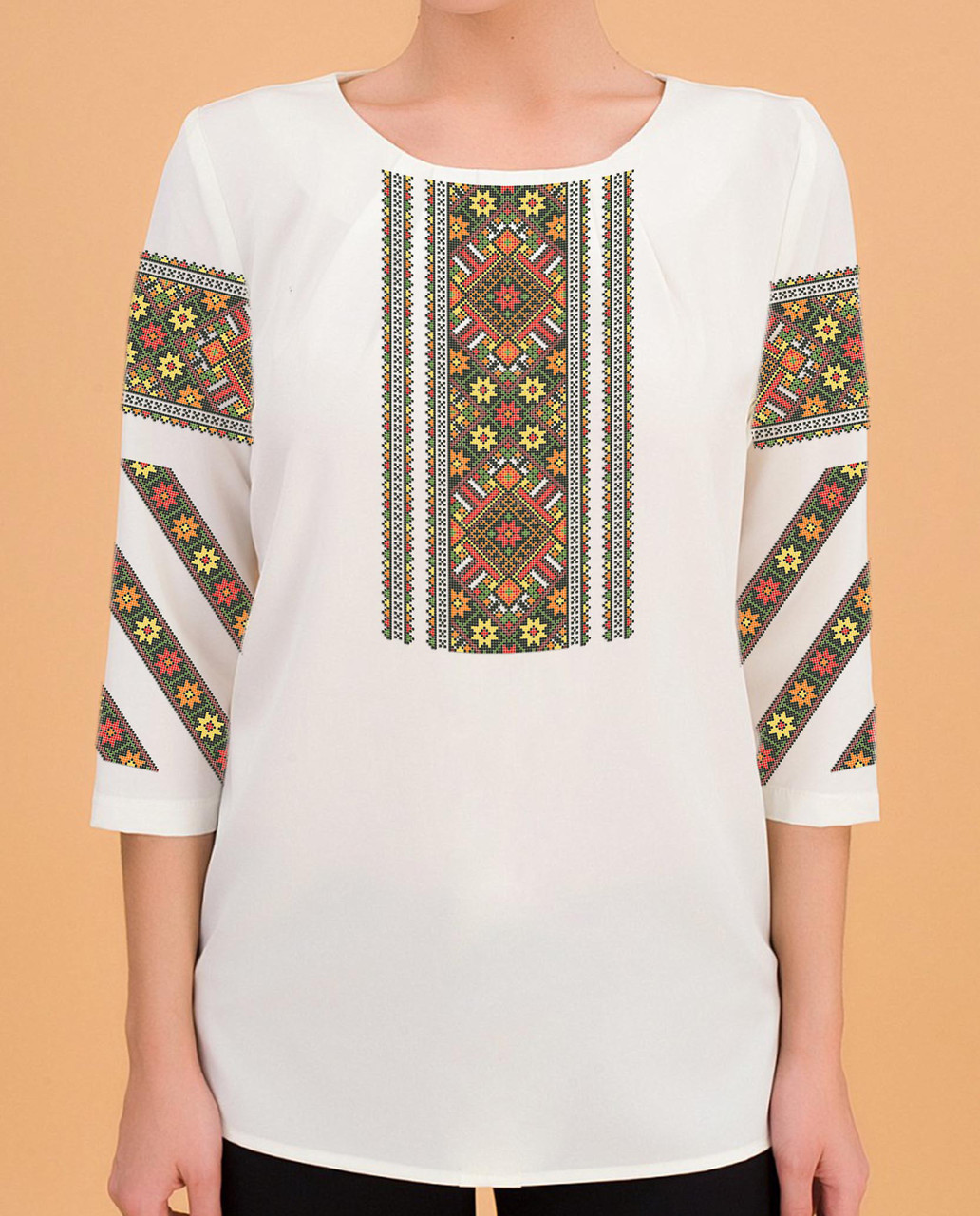 Заготовка вышиванки женской сорочки   блузы для вышивки бисером «Орнамент  116» - Магазин « 694e0b13a4510