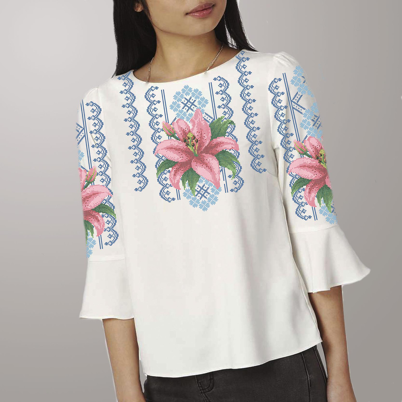 Заготовка вышиванки женской сорочки / блузы для вышивки бисером «Лілія в орнаменті 106»