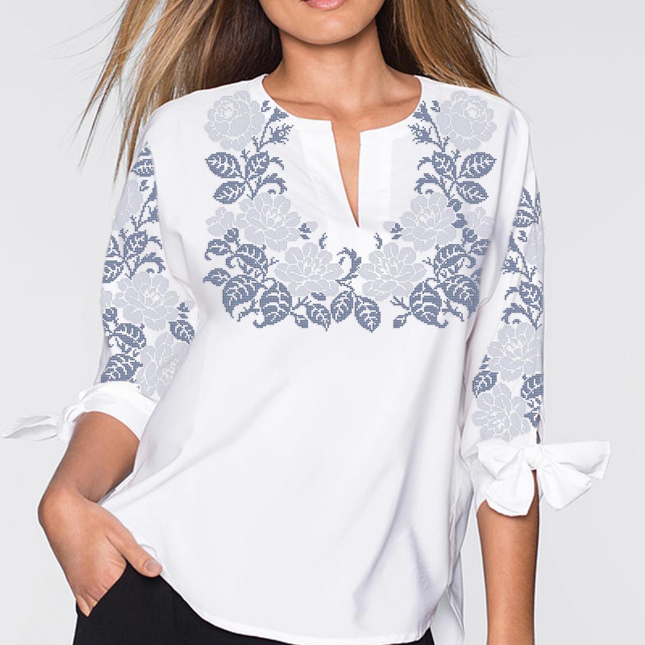 Заготовка вышиванки женской сорочки   блузы для вышивки бисером «Рози  монохром 68» 98666cb2de234