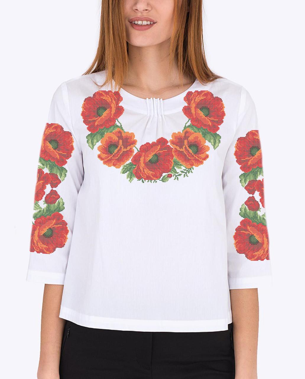 Заготовка вышиванки женской сорочки   блузы для вышивки бисером «Червоні  маки 107» - Магазин ecdcefff729aa
