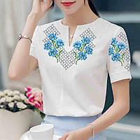 Заготовка вышиванки женской сорочки   блузы для вышивки бисером «Волошки в  орнаменті» 3af287599703f