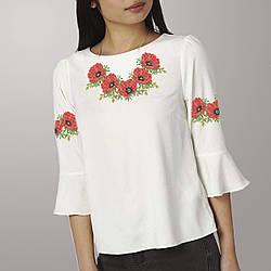 Заготовка вышиванки женской сорочки / блузы для вышивки бисером «Маки 62»