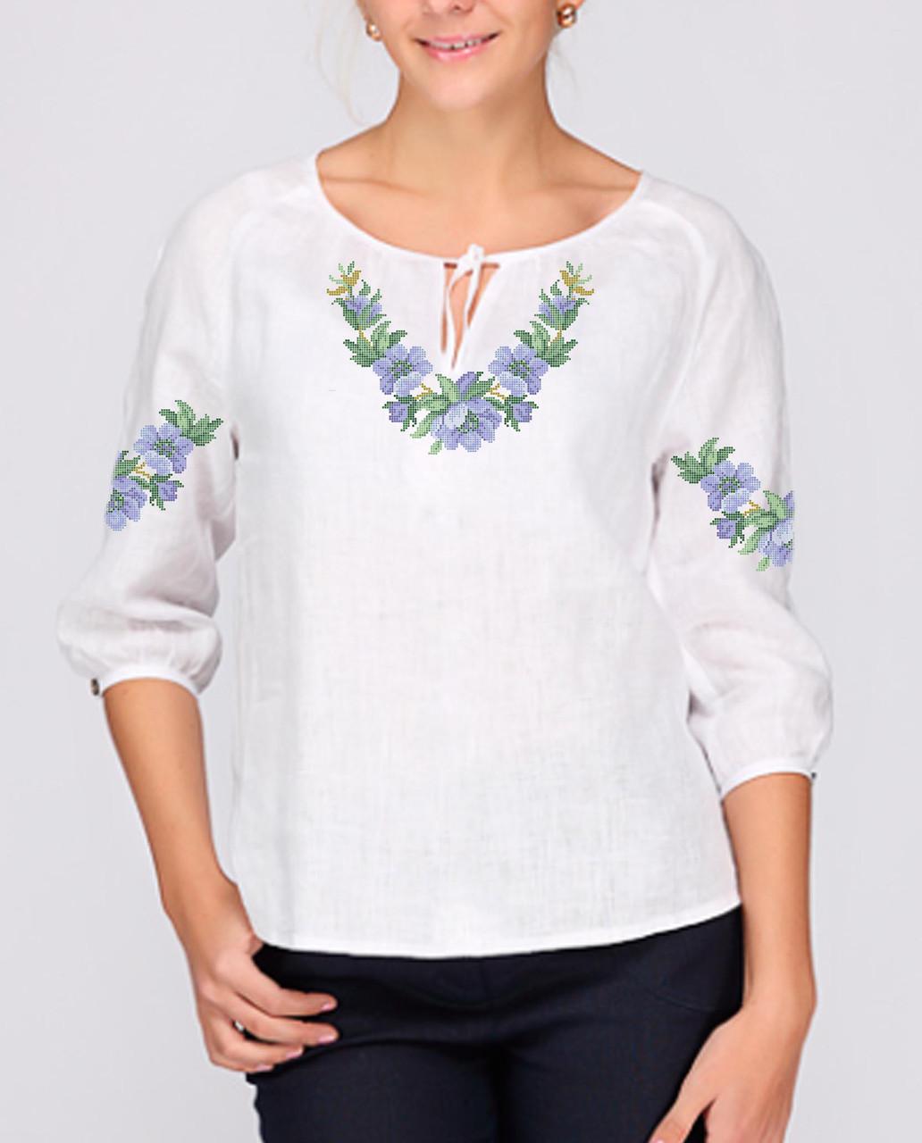 Заготовка вышиванки женской сорочки / блузы для вышивки бисером «Ніжні квіти сині»