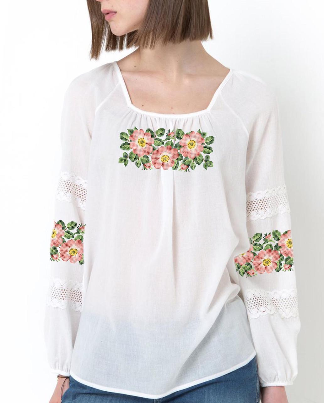 Заготовка вышиванки женской сорочки / блузы для вышивки бисером  «Шипшина»