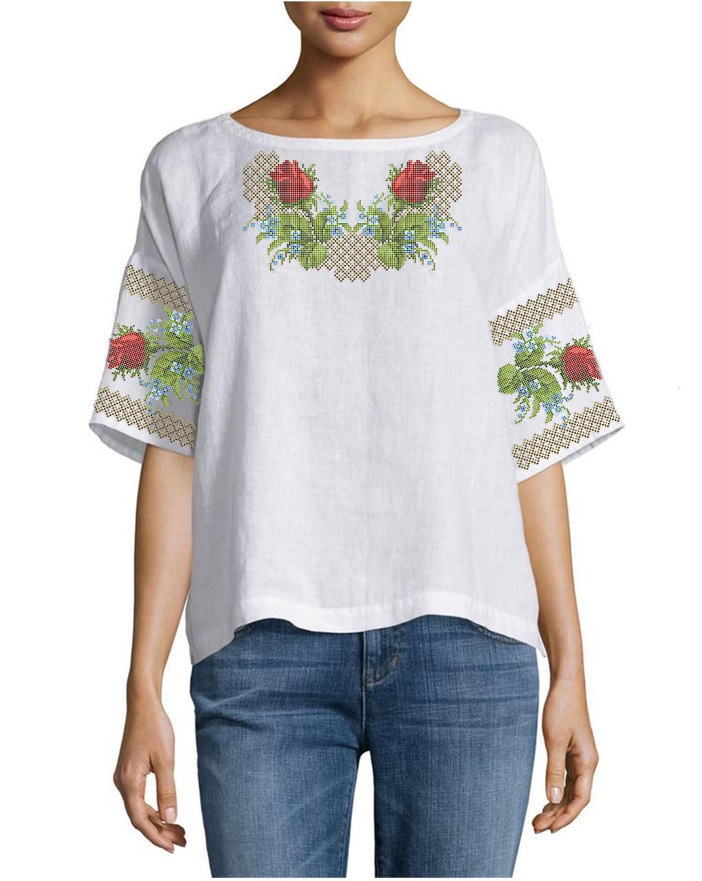 Заготовка вышиванки женской сорочки / блузы для вышивки бисером «Рози і незабудки»