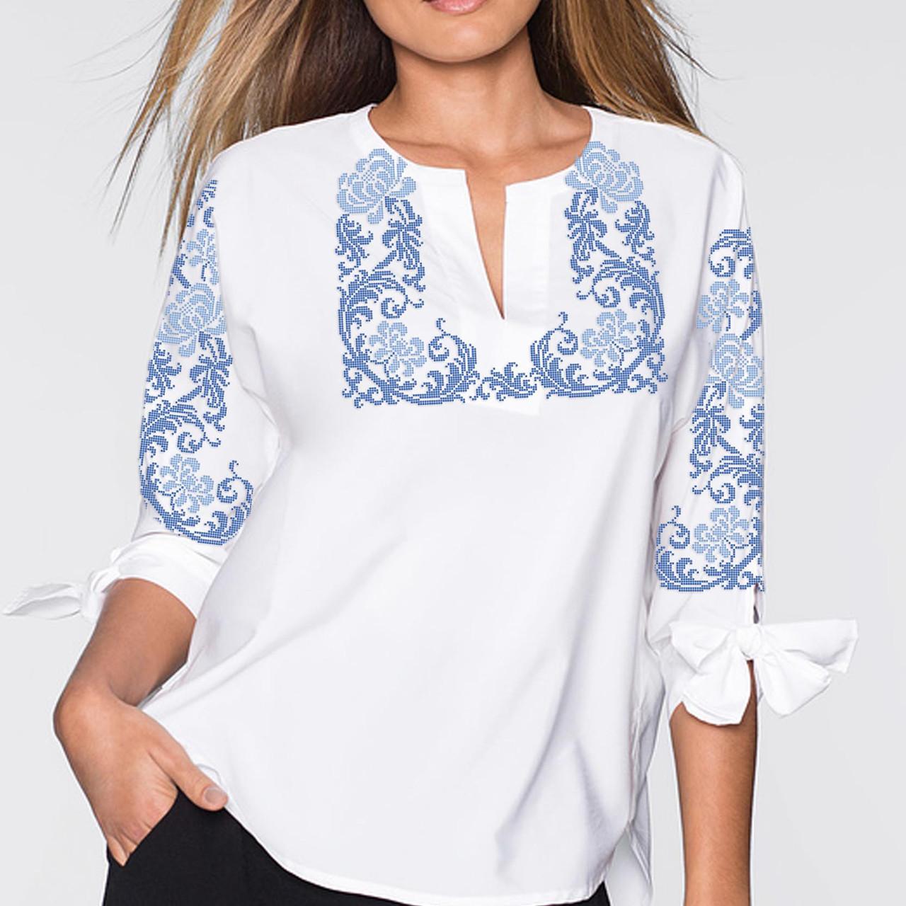 Заготовка вышиванки женской сорочки / блузы для вышивки бисером «Завитки голубі»