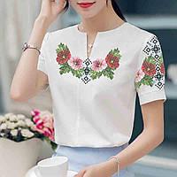 Заготовка вышиванки женской сорочки   блузы для вышивки бисером «Мальви в  орнаменті» c2844c6a22d97