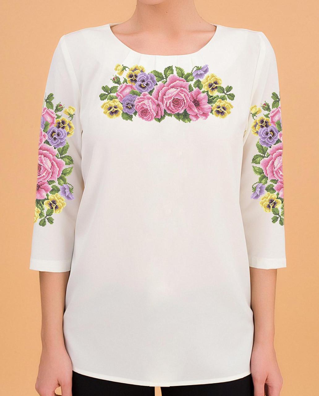 Заготовка вышиванки женской сорочки / блузы для вышивки бисером «Квіткова симфонія»