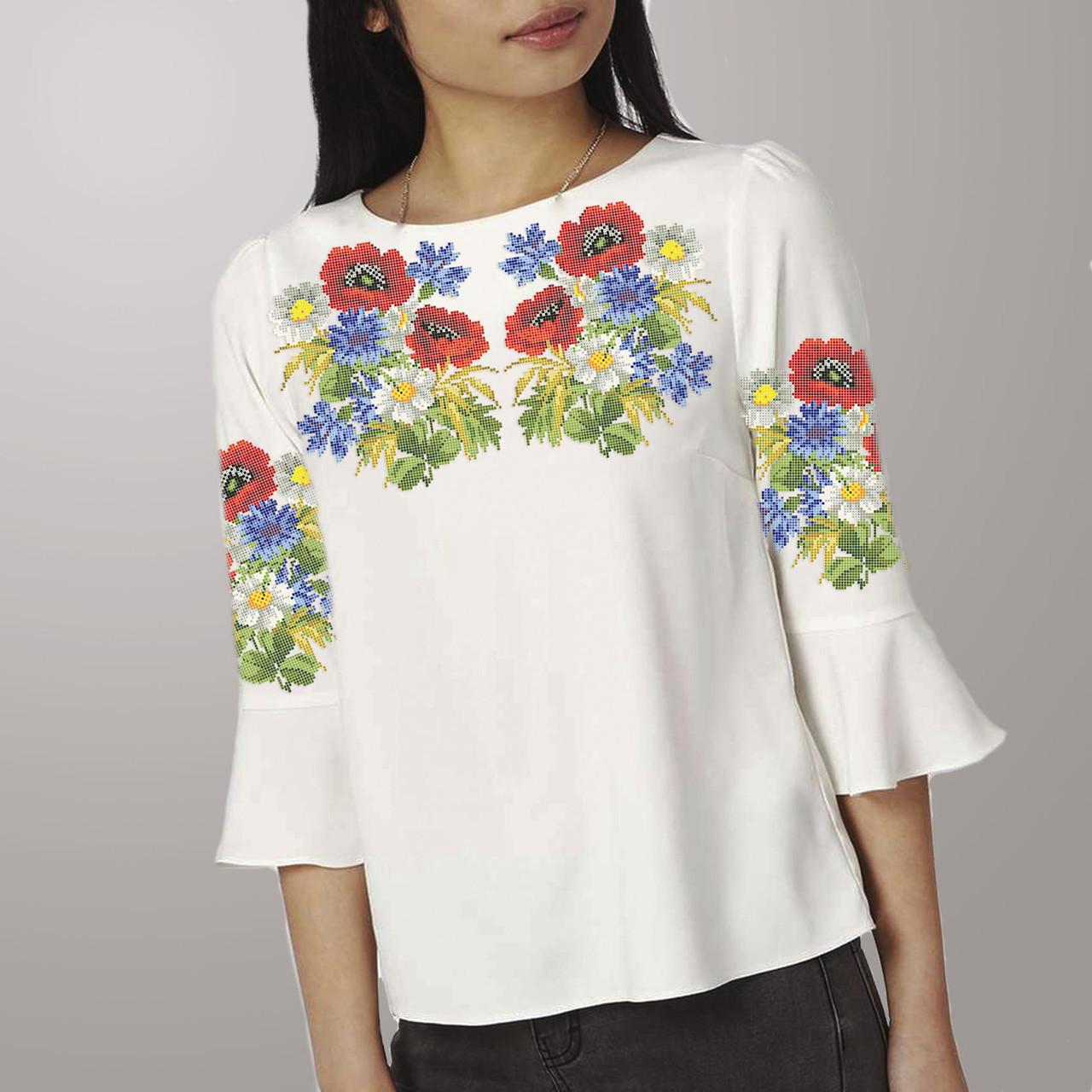 Заготовка вышиванки женской сорочки / блузы для вышивки бисером «Літній полудень»