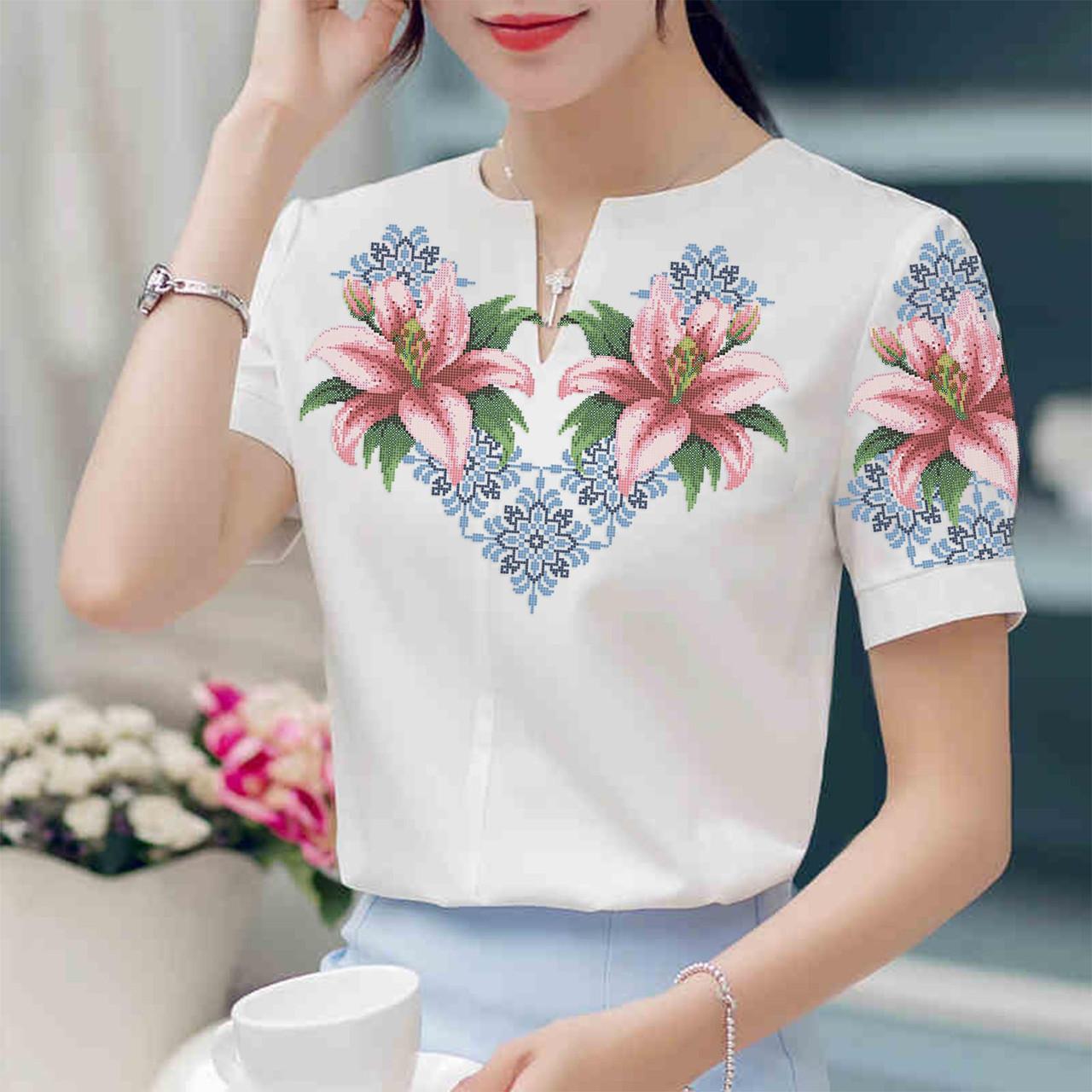 Заготовка вышиванки женской сорочки   блузы для вышивки бисером «Лілії в  орнаменті» 245d4ea13532c
