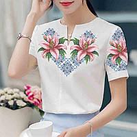 Заготовка вышиванки женской сорочки / блузы для вышивки бисером «Лілії в орнаменті»