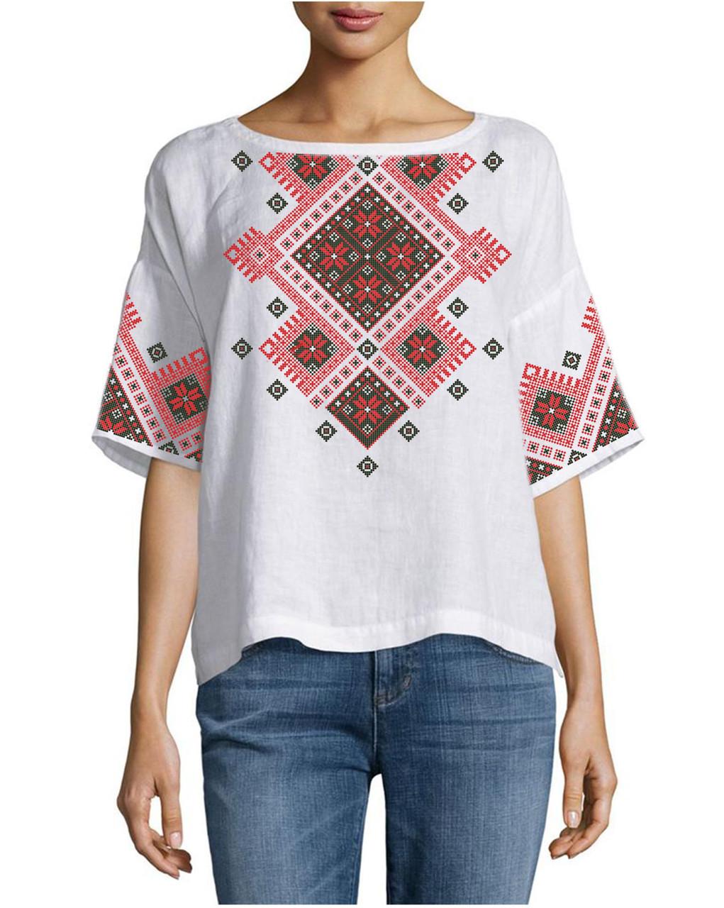 Заготовка вышиванки женской сорочки   блузы для вышивки бисером «Поперечний  орнамент» ea27a75b4679d