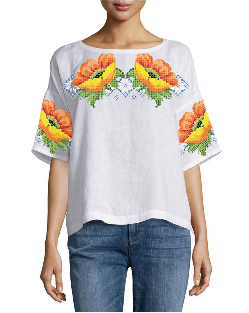 Заготовка вышиванки женской сорочки / блузы для вышивки бисером  «Жовті Маки»