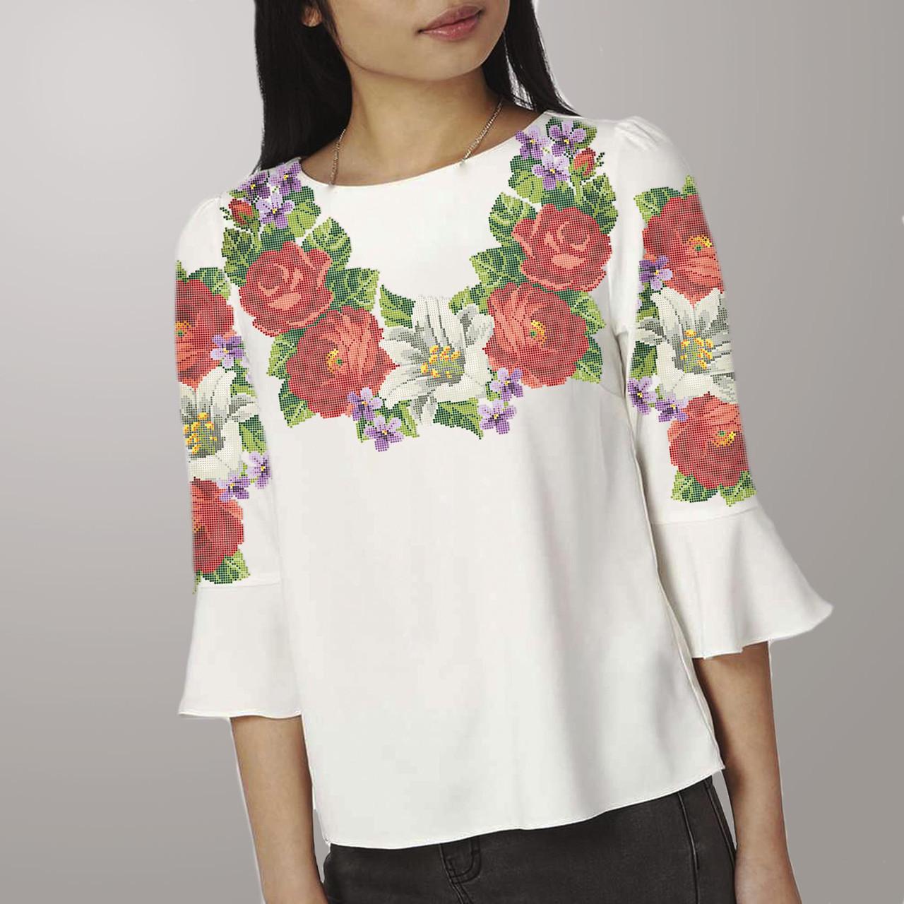 Заготовка вышиванки женской сорочки   блузы для вышивки бисером «Троянди і  Лілія» 35b44302a43be