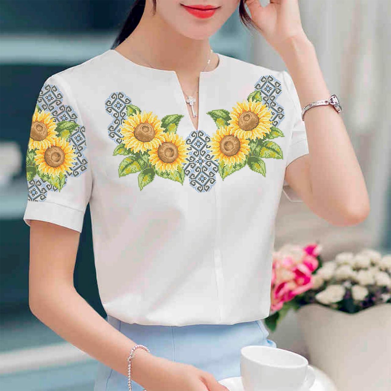 Заготовка вышиванки женской сорочки / блузы для вышивки бисером «Соняшники»