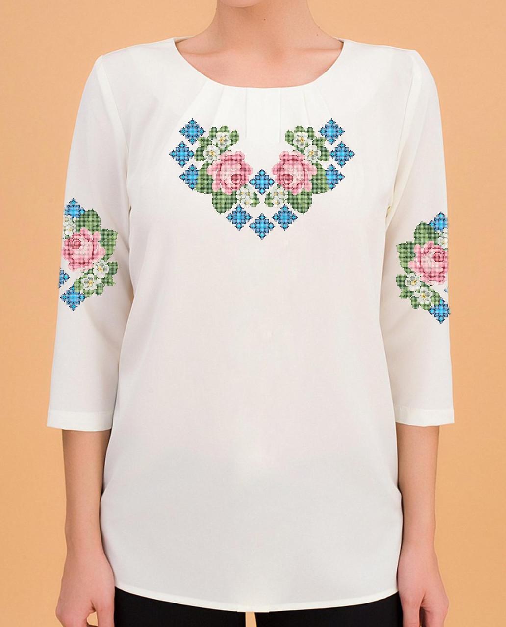 Заготовка вышиванки женской сорочки / блузы для вышивки бисером «Зірочки»
