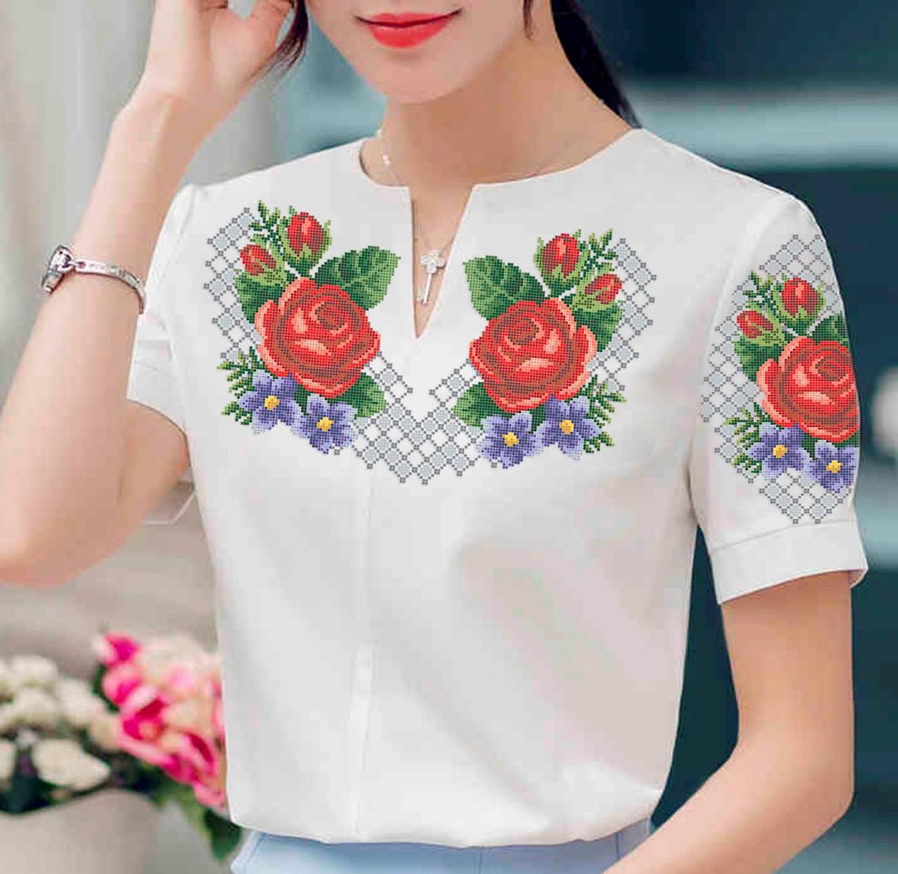 Заготовка вышиванки женской сорочки / блузы для вышивки бисером «Барви літа»