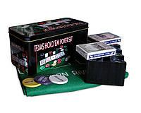 Покерный набор на 200 фишек с номиналом в металлической коробке «Техасский холдем»