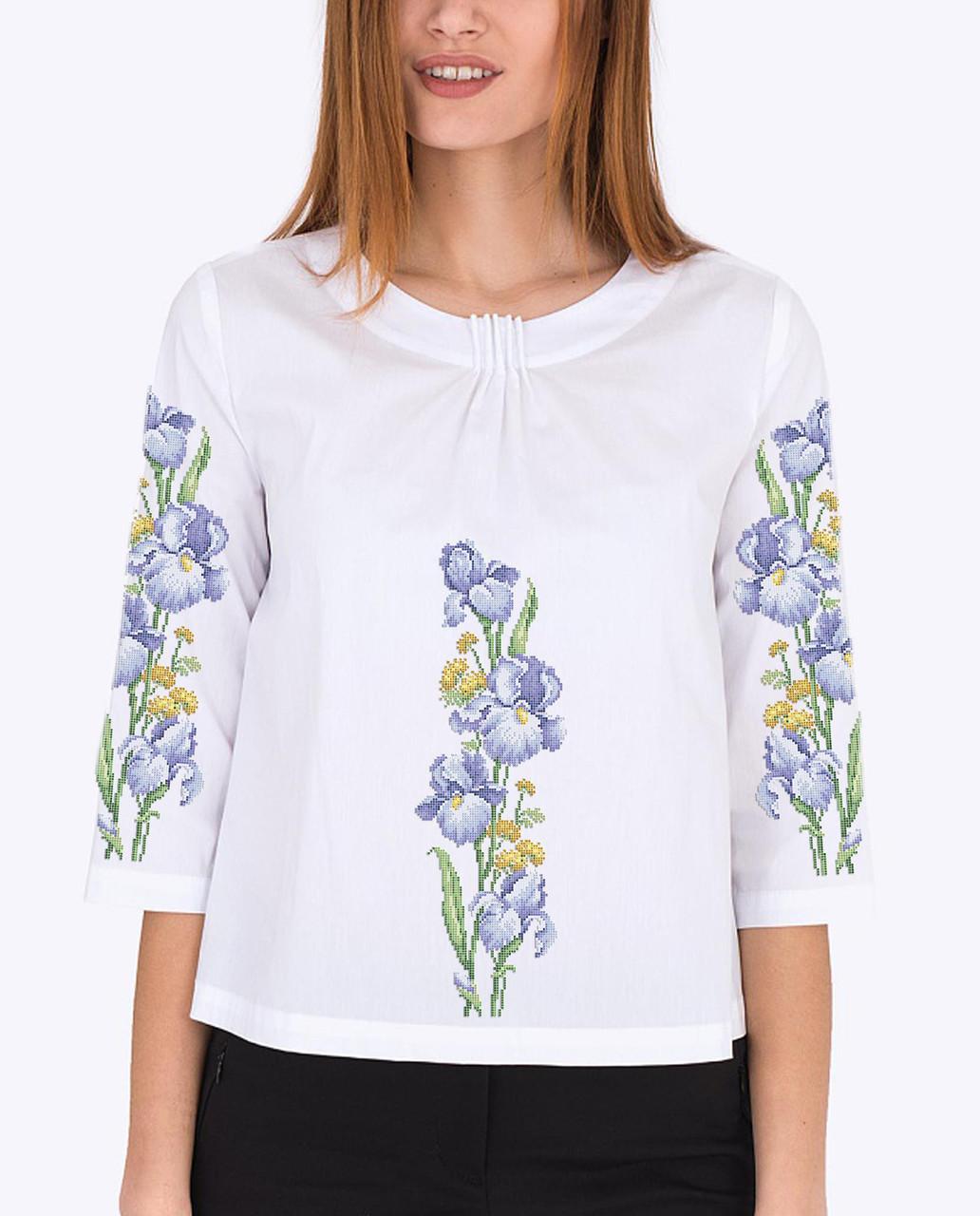 Заготовка вышиванки женской сорочки / блузы для вышивки бисером «Ніжний ірис»