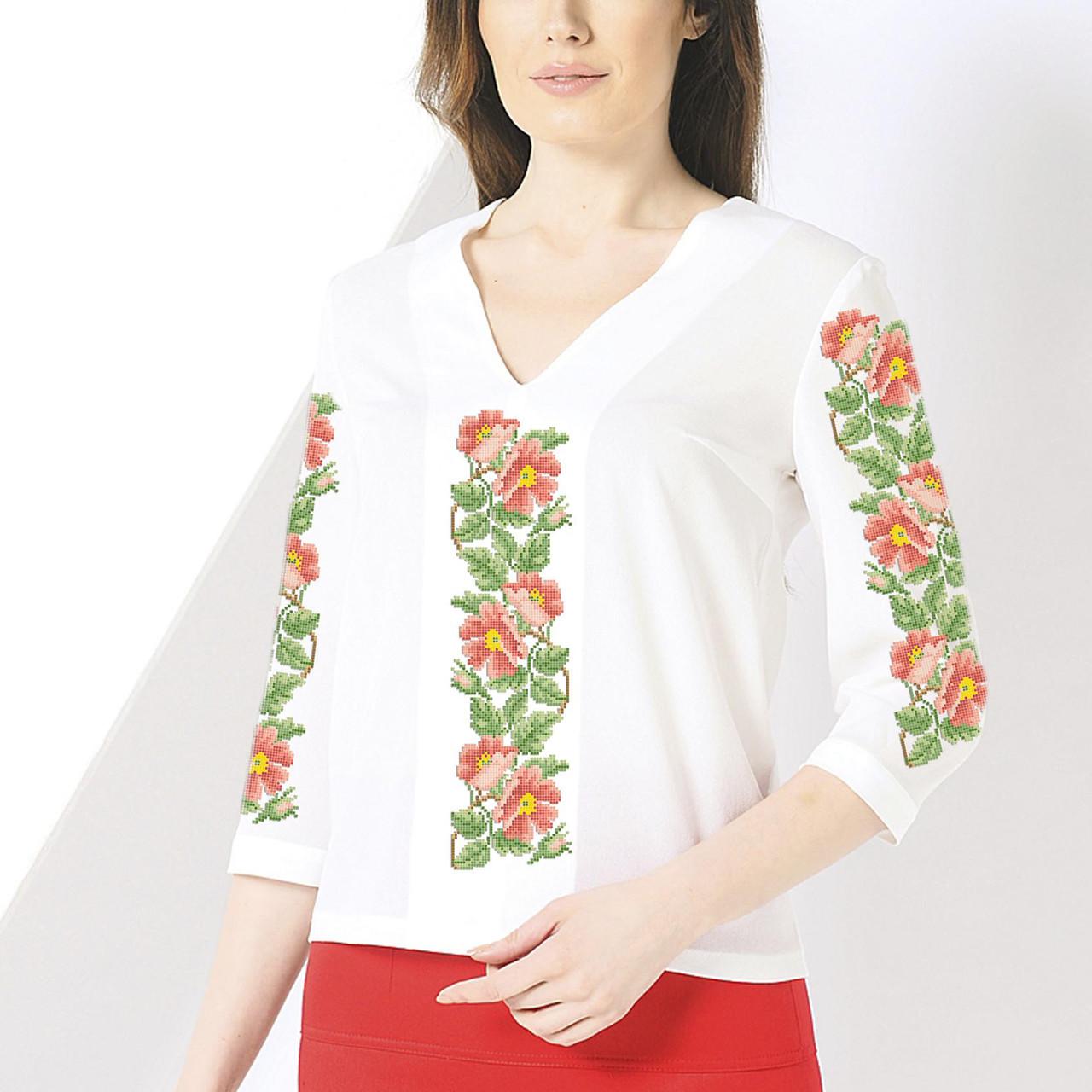 Заготовка вышиванки женской сорочки / блузы для вышивки бисером «Шипшина 121»