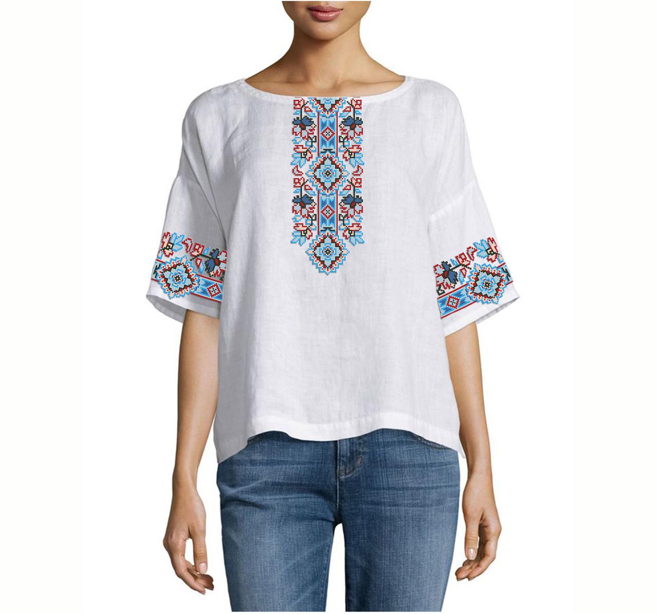 Заготовка вышиванки женской сорочки / блузы для вышивки бисером «Оберіг»