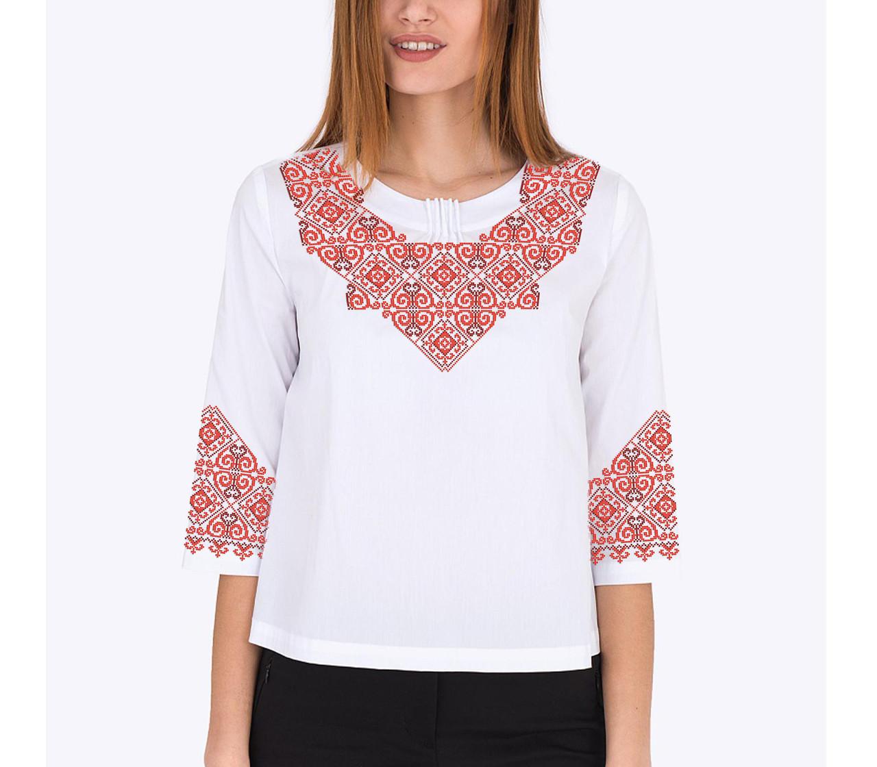 Заготовка вышиванки женской сорочки / блузы для вышивки бисером «Мотив 157 Ч»