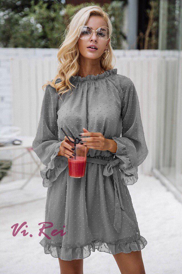 6fbb8ee20871 Платье Шифоновое Женское Серое с Открытой Спиной — в Категории