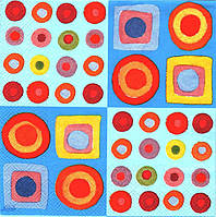Салфетка для декупажа Цветные кружочки 33см х 33см